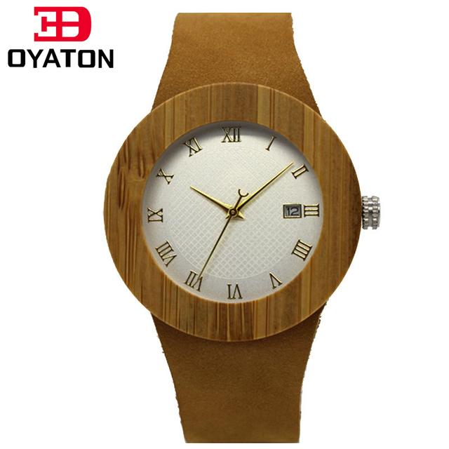 Oyaton as mulheres se vestem de bambu de madeira de madeira relógio de quartzo japão 2035 movimento miyota relógios com calendário senhora relógio de presente b1020
