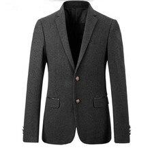 Men suits jacket wool blended grey groom wedding tuxedos jacket keep warm tailor made formal business suits jacket