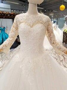 Image 4 - LSS047 elegante avorio abito da sposa o collo a maniche lunghe in pizzo su indietro musulmano vestido madrinha de casamento longo