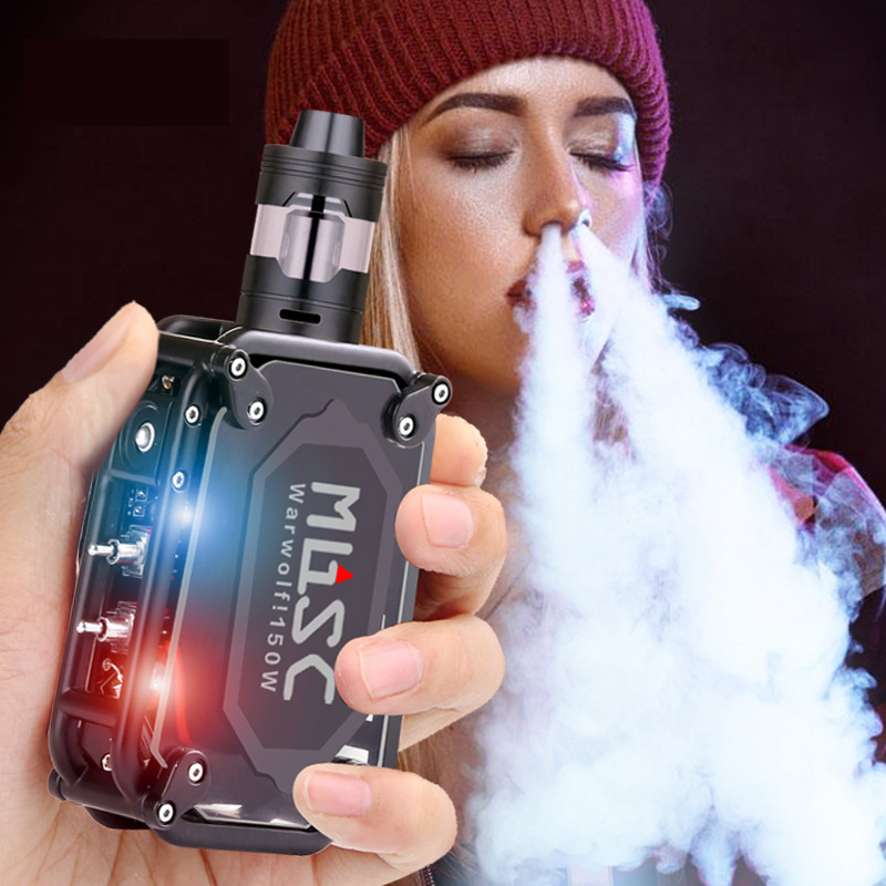 Cool <font><b>150W</b></font> Warwolf Vape Kit <font><b>150W</b></font> <font><b>Box</b></font> <font><b>Mod</b></font> Laser <font><b>e</b></font>-<font><b>cigarette</b></font> with Big Atomizer Built-in 3500mAh Battery Large Output Vaper Pen New image