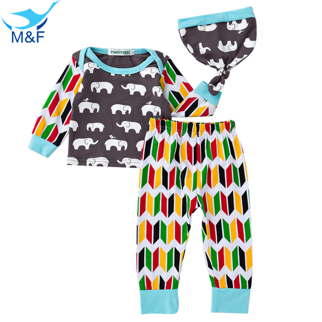 M&F Spring Baby Clothing 3pc Sets Long Sleeve T-shirt+Pants+Cap Girl Clothes Suits Infant Cute Cartoon Clothing For Newborn Boys