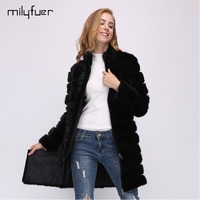Milyfuer Detachable Real Mink Fur Coat For Women 2017 Natural Mink Coats Full Pelt Genuine Leather