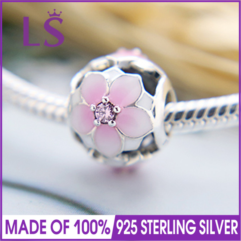LS High Quality 100% Real 925 Silver Magnolia Bloom Charm Beads Fit Original Bracelets Pulseira Encantos.100%Same.Fine Jewlery