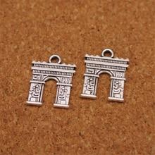 20 piezas de bronce antiguo de 2 lados de Arco del Triunfo encantos colgante de viaje en París accesorios DIY collar de joyas hechas a mano pulsera