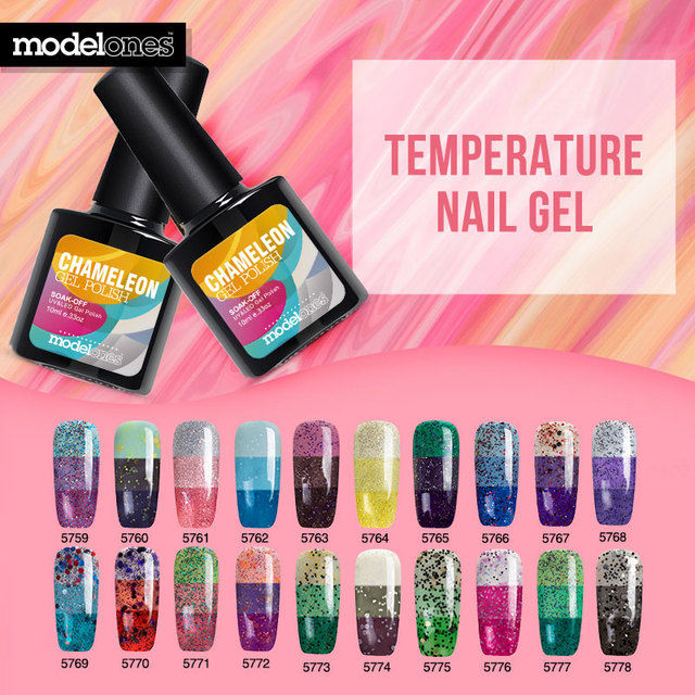 Modelones Candy Color Uv Nail Gel Polish 10ml Hot Temperature Chameleon Lacquer