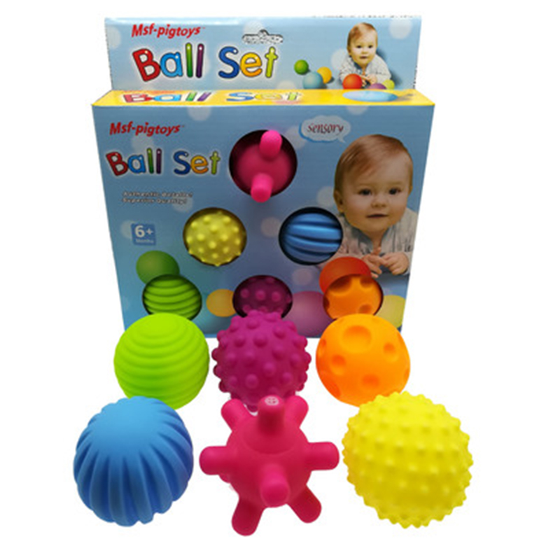 6pcs/set Baby Toy Ball Set Develop Baby's Tactile Senses Toy Touch Hand Ball Toys Baby Training Ball Massage Soft Ball LA894335