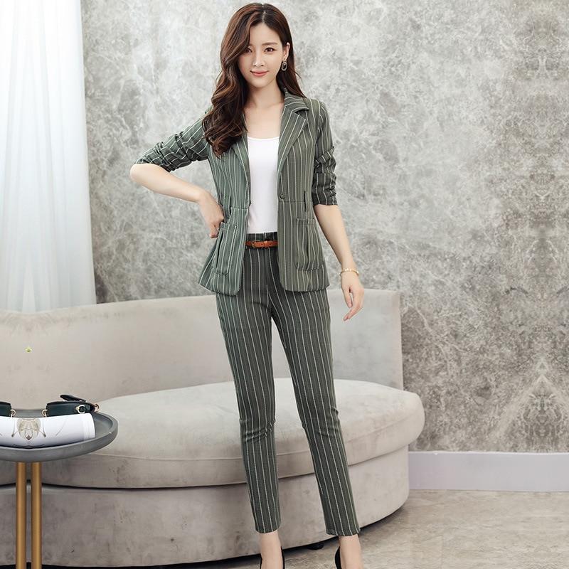 Women's Striped Suit OL High Quality Ladies Slim Business Office Suit Jacket Female Casual Pants Suit Work Set 2019 New