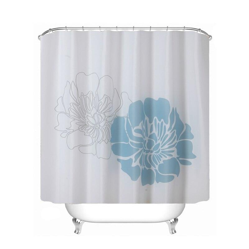 Ufriday Vintage Blue White Flower Shower Curtain Waterproof