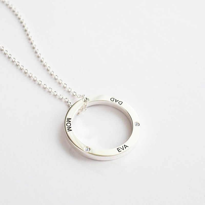 Strollgirl 925 prata esterlina ligada círculo colar personalizado personalização gravado nome colar dia dos namorados presente