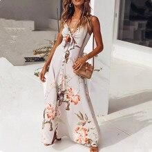2018 Sexy V Neck Backless Long Dress High Split Elegant Strappy Dress Beach Floral Print Night