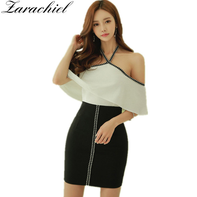 f2221a6e6635 Zarachiel Women Korean Patchwork Weave Casual Office Pencil Bodycon Cape  Dress Vestidos Summer Sexy Off Shoulder Halter Dress