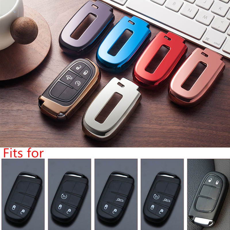 Soft TPU Car Key Cover Case Key Chain Key Chain Protector For Jeep Grand Cherokee Chrysler 300C Renegade Fiat Freemont 2018