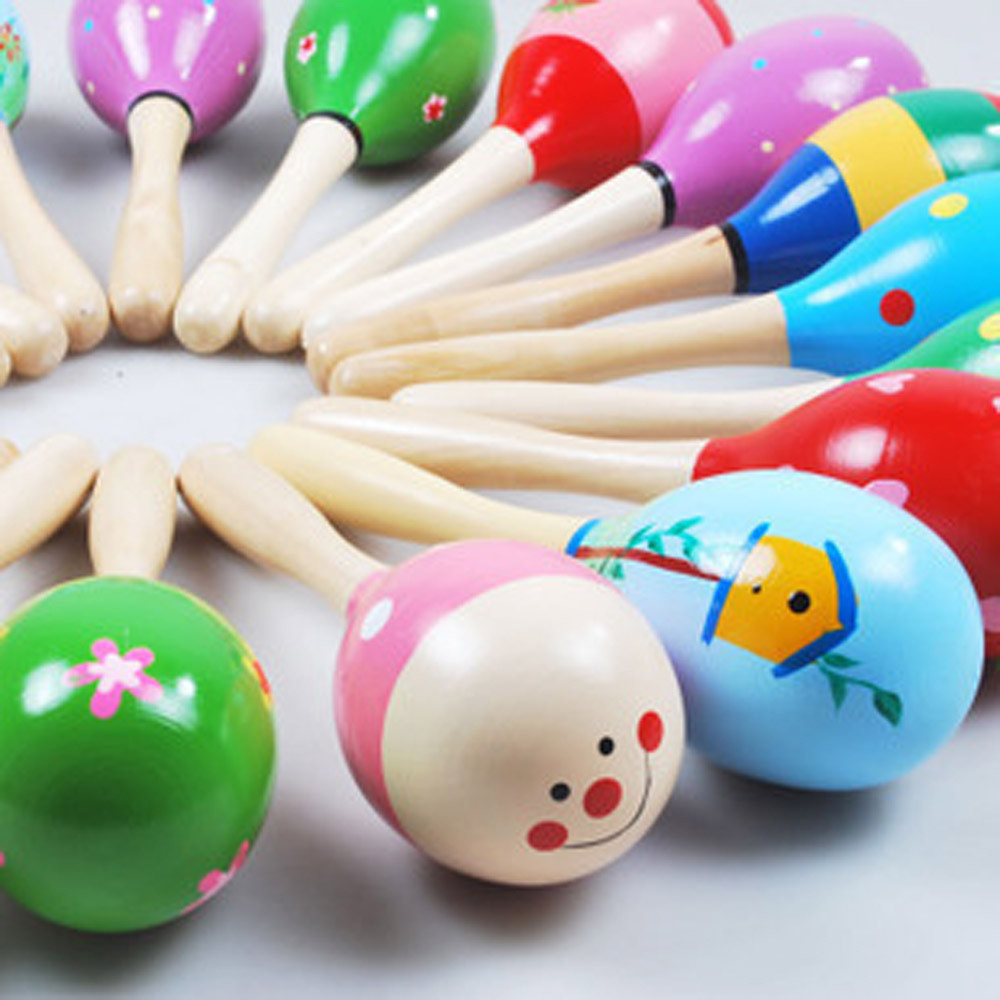 1 PCHigh Quality Mini Wooden Ball Children Toys Percussion Musical Instruments Sand Hammer Levert Dropship L1025