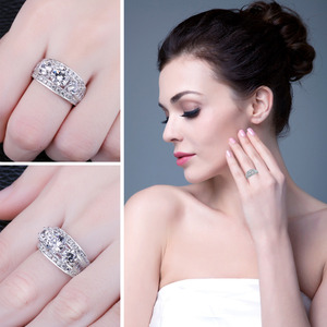 Image 4 - JewelryPalace 3 Stones CZ Engagement Ring 925 Sterling Silver Rings for Women Anniversary Ring Wedding Rings Silver 925 Jewelry