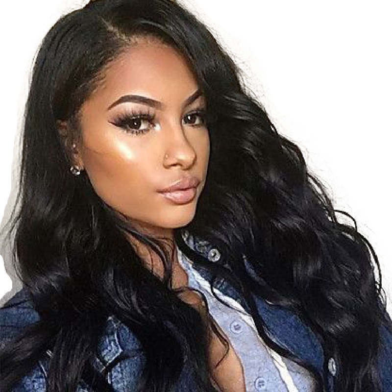 Ever Beauty Pre Plucked Lace Front Human Hair Wigs Body Wave 100% Brazilian Remy Hair Natural Black Color