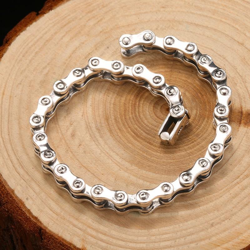 ZABRA Biker Bracelet Solid 925 Sterling Silver Bracelets Men Link Chain High Polished Handmade Vintage Punk Jewelry For Female