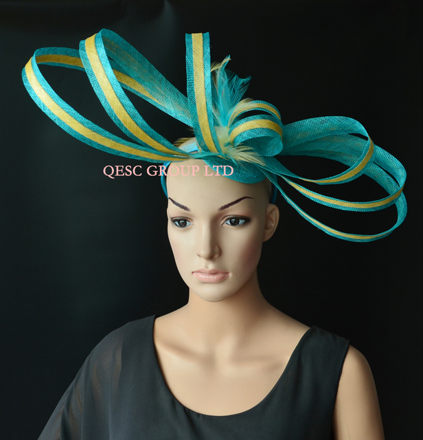 1fb5a4efd9 Turquoise blue champagne gold large Sinamay loops handmade fascinator hat  for Melbourne cup