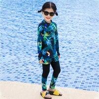 Summer Baby girls Snorkeling swim set rash guard kids swimwear uv protection rashguard boys swimsuit long sleeve surf clothes