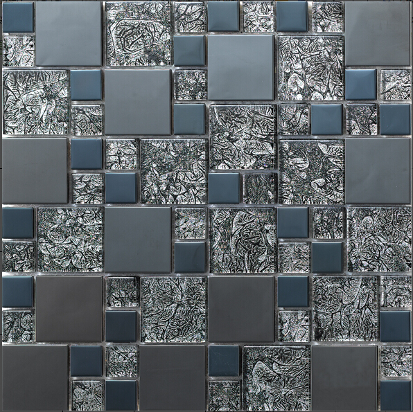 Factory Direct Sale Stainless Steel Metal Mosaic Glass Tile Kitchen Backsplash Bathroom Shower Background Decorative Wall Paper