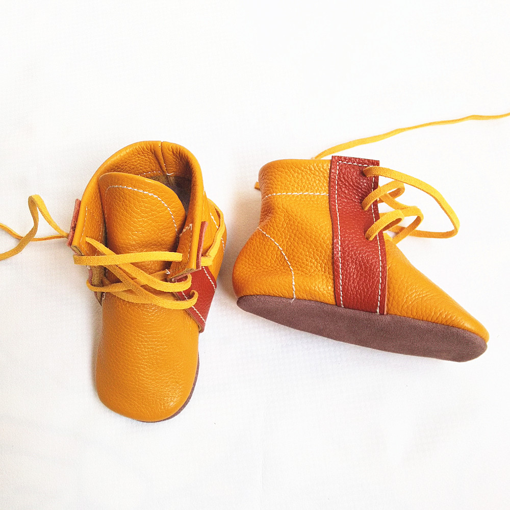 New style Handmade Genuine Leather baby boots First Walkers The lace-up baby moccasins gils boy Shoes 12.5-15.5CM free shipping