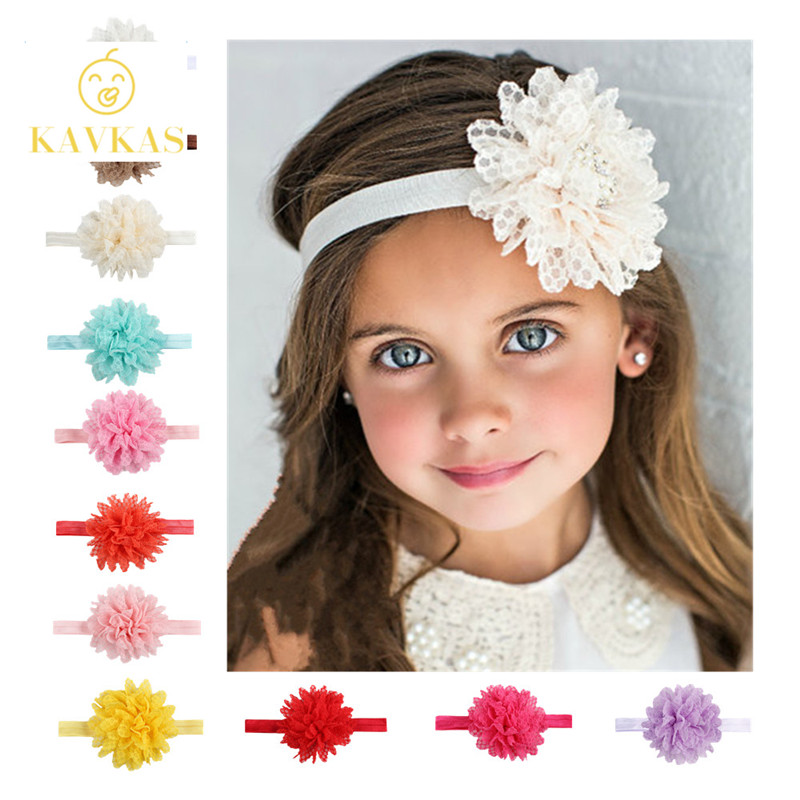 где купить KAVKAS New 1 Pcs Girls Headband Newborn Beautiful Baby Girl Hairband Mesh Grid Flower Lace Headband Children Hair Accessories по лучшей цене