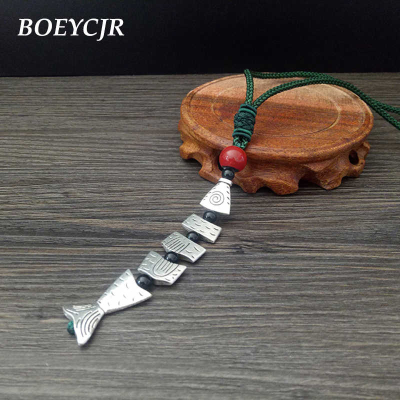 BOEYCJR Ethnic Alloy Fish Ceramic Beads Statement Necklace Chain Handmade Ethnic Adjustable Long Pendant Necklace for Women 2019