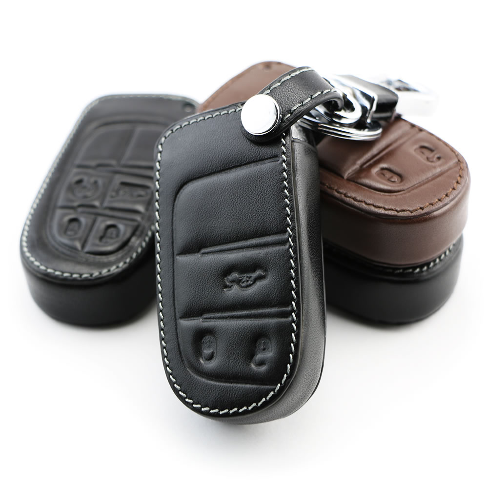 Genuine leather car key cover key case for dodge journey jcuv ram challenger 2012 2013 2014