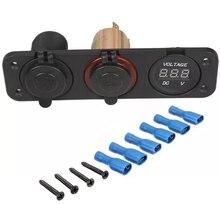 High-end car modification Car Charger triple Motor Yacht car cigarette lighter dual USB + + voltmeter Multifunction