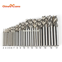 16pcs Set HSS Carbide End Mill 4 Blades CNC Tools Diameter 2 17mm Flute Milling Cutter