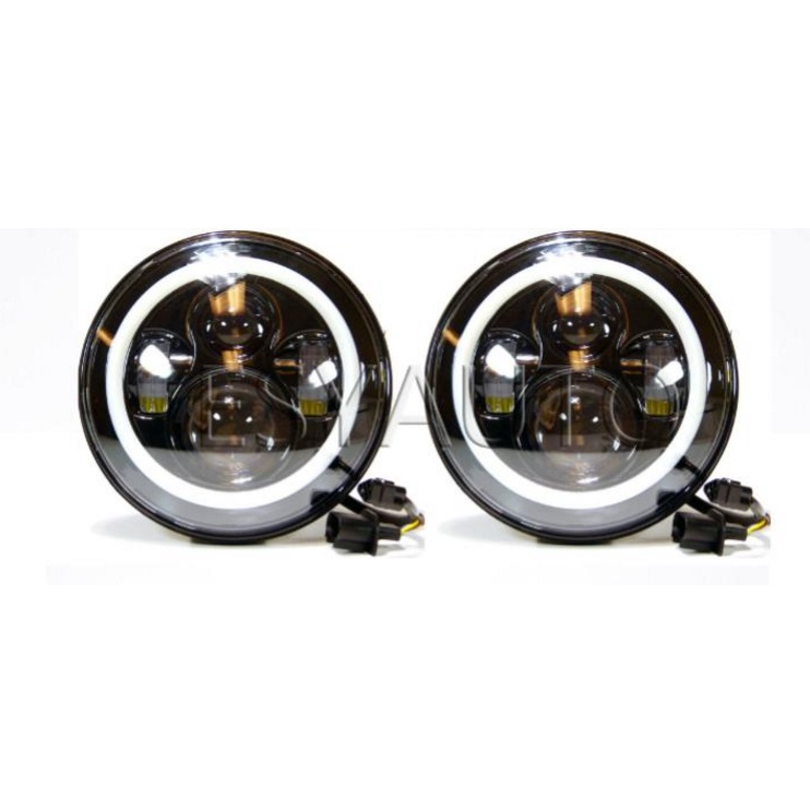 Pair 7 Inch Round LED Headlights 40W High Low Beam with White DRL Halo Ring Headlamp Replacement for Jeep Wrangler JK LJ TJ 2pcs 7 inch round led headlights angle eyes headlamp head light for jeep wrangler jk tj cj 8 scrambler high low beam