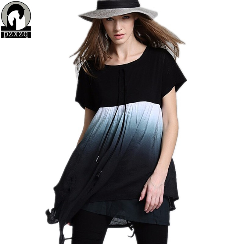 summer dress 2018 Fashion gradient color Women Casual Loose Multilevel hem stitching <font><b>T</b></font> shirt dress Splice Mini Dresses vestidos image