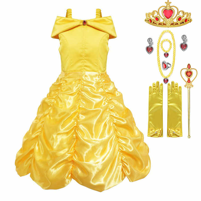 Off Shoulder Maxi Princess Belle Dress For Girl Beauty And The Beast Costume Kid Cosplay Summer Carnival Clothes Halloween Party Dresses Aliexpress