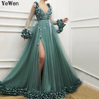 Dubai Long Sleeves Green Sexy Evening Dresses 2019 Handmade Flowers V Neck Tulle Evening Dresses Design Women Formal Gown