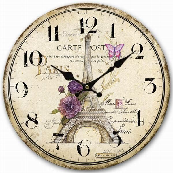 Retro Vintage Style Large Clock Sketch Paris Eiffel Tower