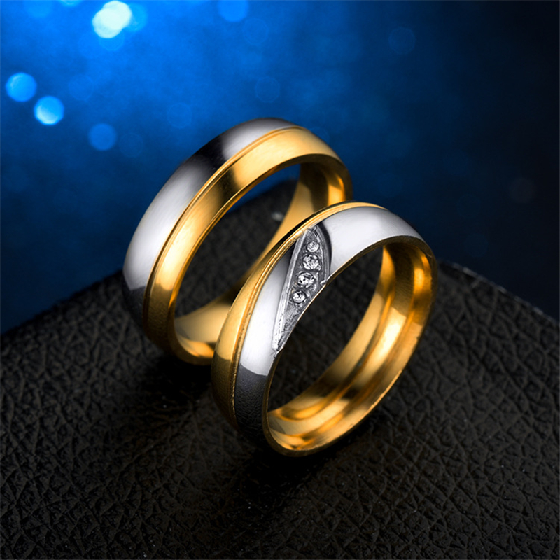 Stainless Steel Wedding Bands Rings For Lover Gold Sliver Couple Engagement Rings with Crystal Finger Jewelry