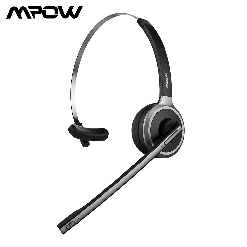 Mpow M5 Bluetooth Headset Wireless Over Head Earpiece Noise Canceling Headphones with Noise Reduction Mic for Call Center,phones 1 2 pack mpow pro professional wireless bluetooth headphone with microphone 13h talking time for driver call center skype office