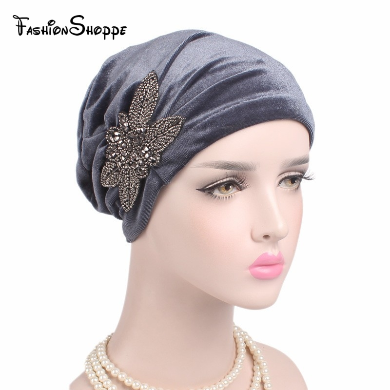 2017 New Fashion Women's Elegant Soft Velvet Turban Beanie With Beaded Flower Hat Chemo Cap Ladies Muslim Inner Caps Ys221 To Assure Years Of Trouble-Free Service