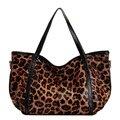 Большие случайные сумки женщин плеча неподдельной кожи сумки женские большие сумки натуральная кожа leopard pattern женщины сумки