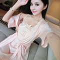 Best Selling women's Two Pieces Bathrobe + Nightdress Sleepwear ultra-thin Sexy Temptation Summer Style Home Wear Sleep & Lounge