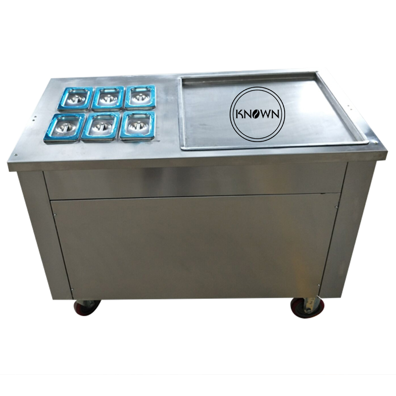 Single Pan Roll Fried Ice Cream Roll Machine With 6 Toppings With R410A Refrigerant