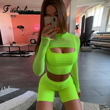 Fitshinling Neon fashion matching sets long sleeve mesh cover tanks tops biker shorts 3 piece set women clothes fitness suits