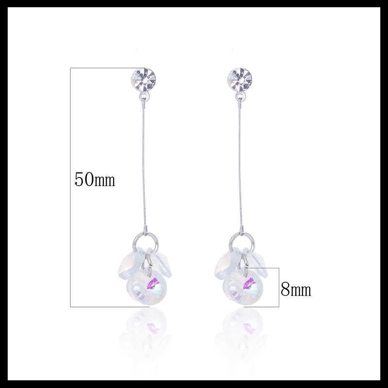 TDQUEEN Cubic Zirconia Dangle Earrings For Women Korean Trendy Style za Jewelry Pompom Brinco Silver Long Tassel Dangle Earrings