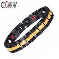 Brand Design Health Energy Bracelets Bangles Men Black Plated IP Gold Bracelet Bio Magnetic Stainless Steel