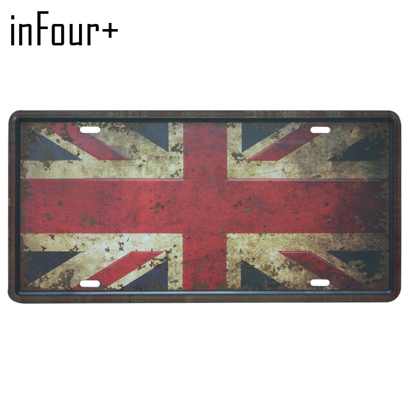 [inFour+] Britain Flag Plate Metal Plate Car Number Tin Sign Bar Pub Cafe Home Decor Metal Sign Garage Painting Plaques Signs