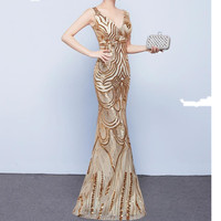 V Sparkly Shiny Sequin Beaded Mermaid Evening Party Dresses Women Floor Length Prom Gown Dress Long