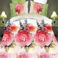 Warme en Romantische Beddengoed Roze Blauw Rose Bloem 3D Beddengoed Sets Kingsize, 3/4 stks Extra Zachte en Comfortabele Huishoudtextiel Bedset