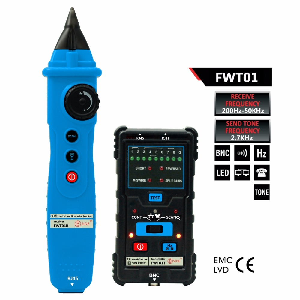 цена на BSIDE FWT01 Network Cable Tester RJ45 RJ11 Telephone BNC Wire line Tracker Multifunctional Cable Test Tool