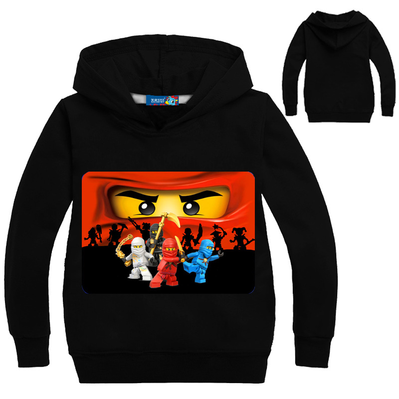 2018 Boys Sweater Legoes T-shirts Baby Ninjago Girls Hooded Long Sleeves Children Spring Autumn Clothes Toddler Outerwear light grey simple long sleeves sweater