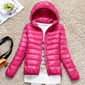 Special offer plus size hooded ultra thin lightweight down jacket women short design long-sleeved light down jackets 2017 winter