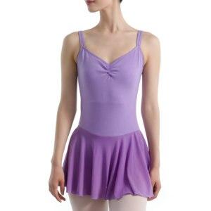 Image 2 - 大人のバレエドレスダブルスパゲティストラップノースリーブレオタードバレエボディスーツメッシュスカートダンスレオタード女性のための